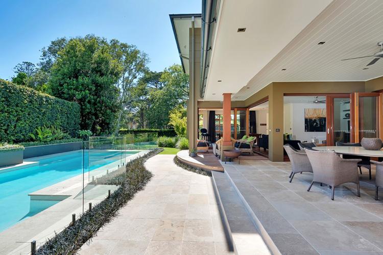 classic travertine pool area
