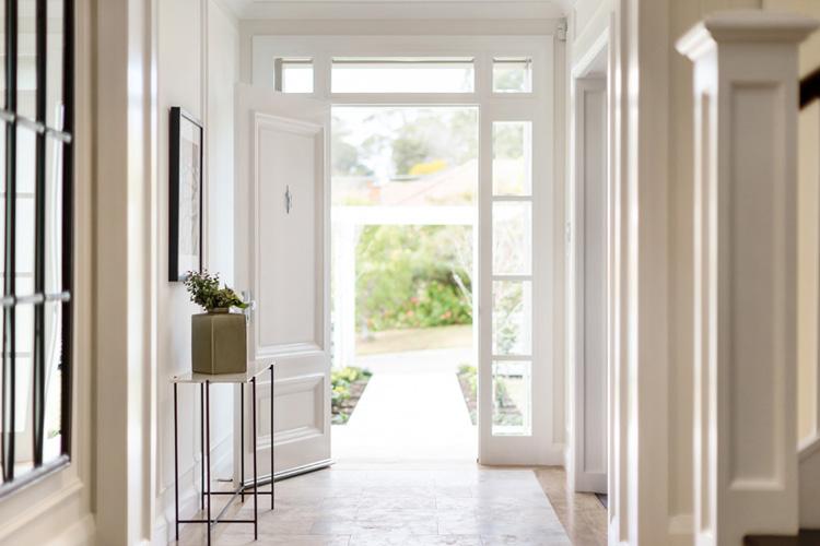 silver ash travertine hallway