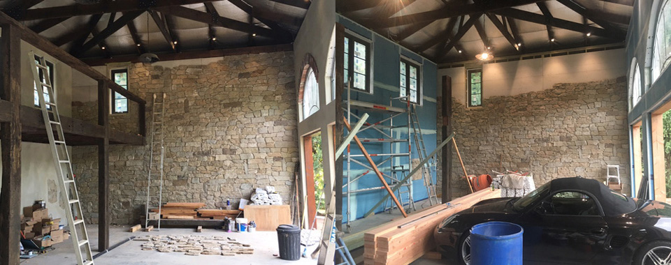 cotswold wall cladding in progress