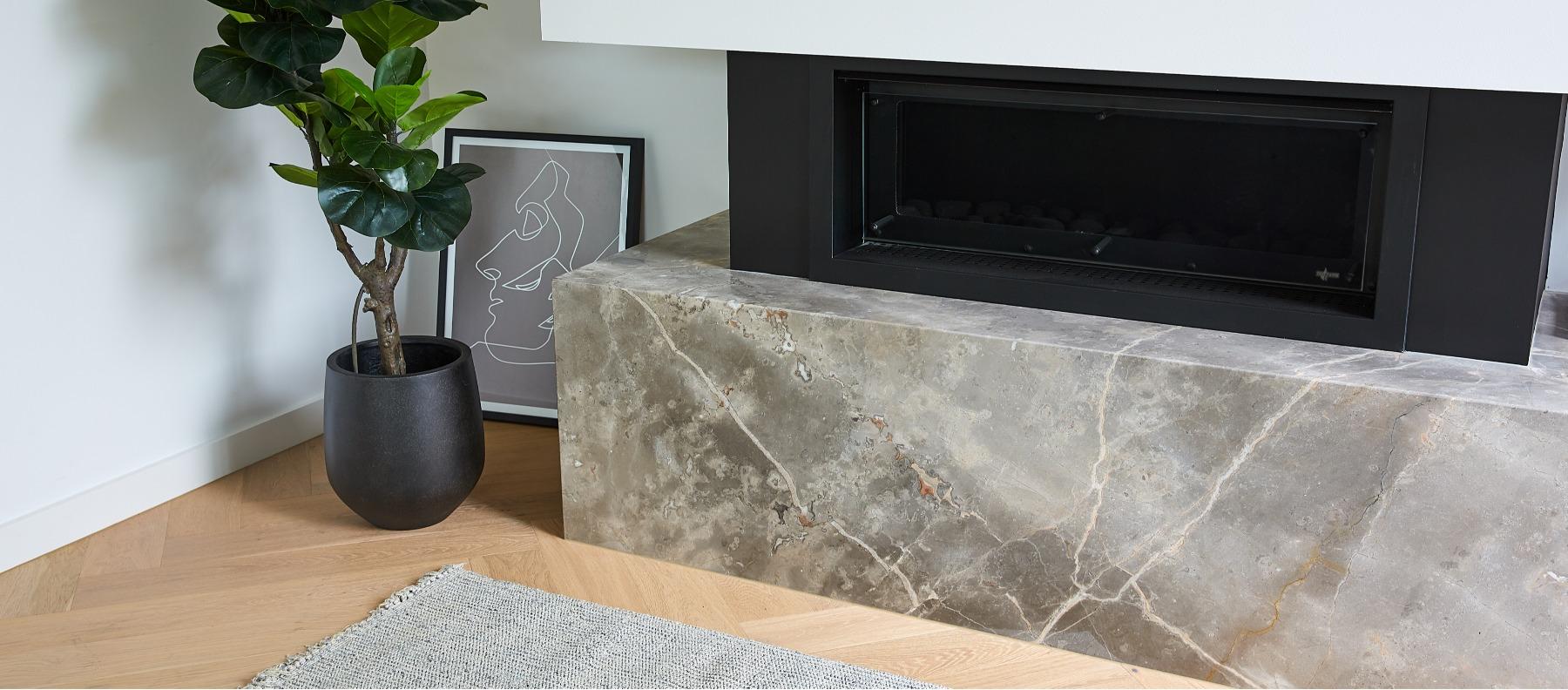 fireplace limestone