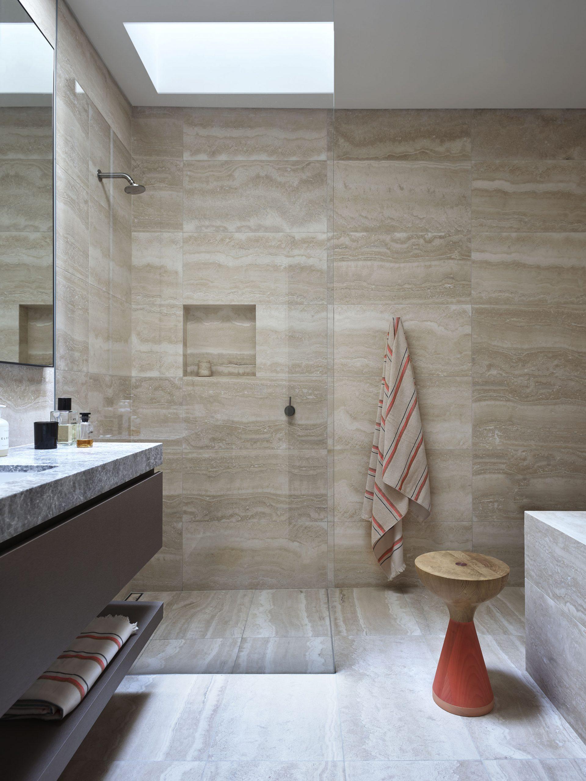 vein cut travertine bathroom