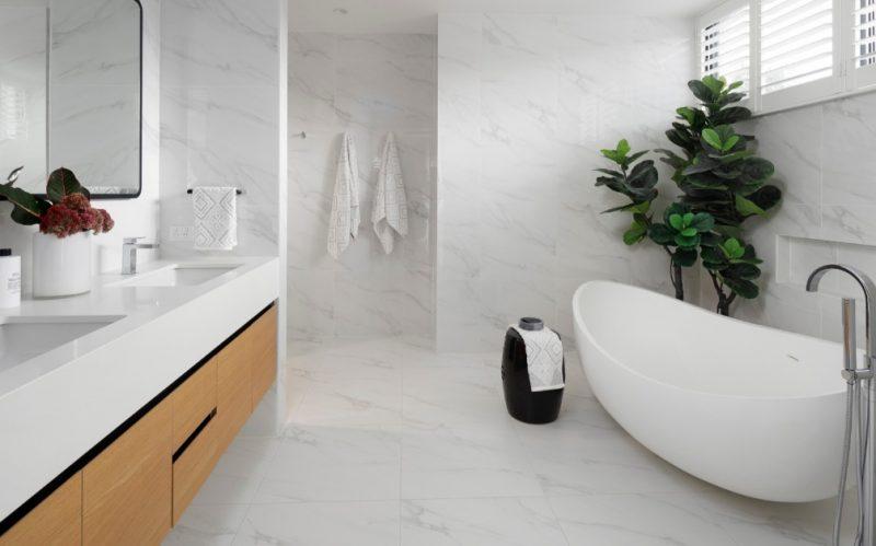marble look porcelain bathroom