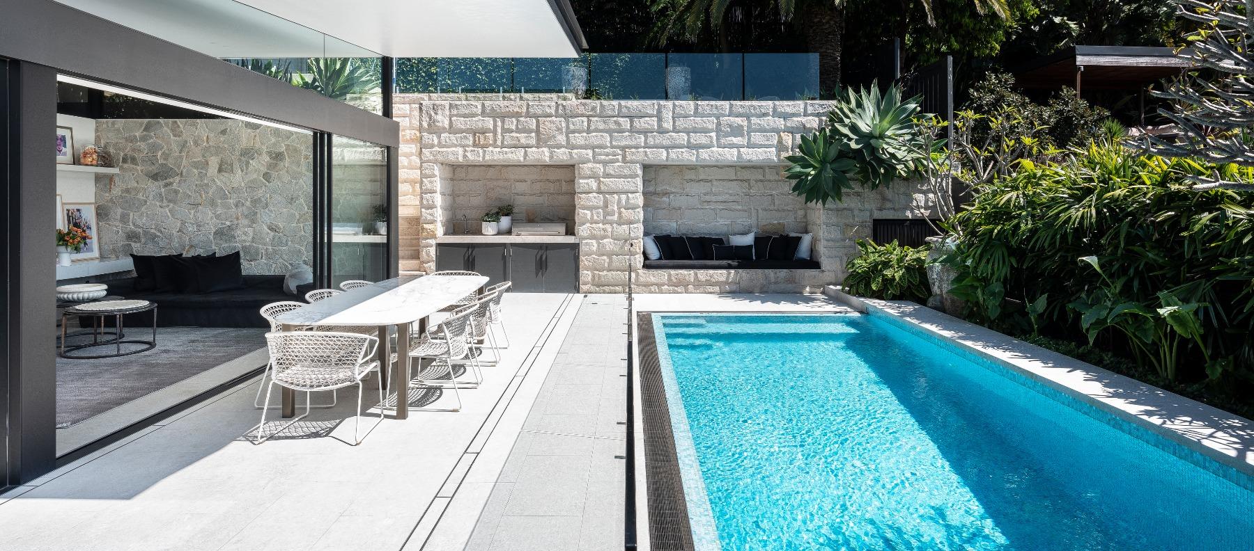limestone alfresco pool