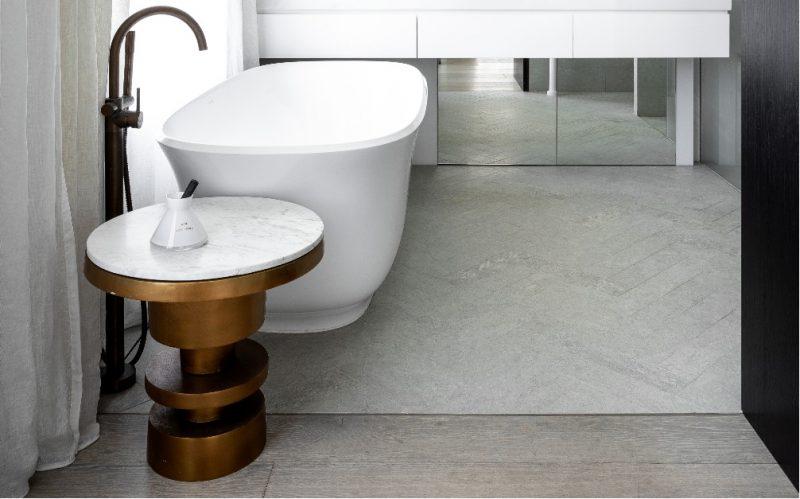 herringbone limestone bathroom