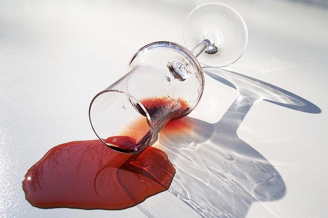 wine spillage natural stone