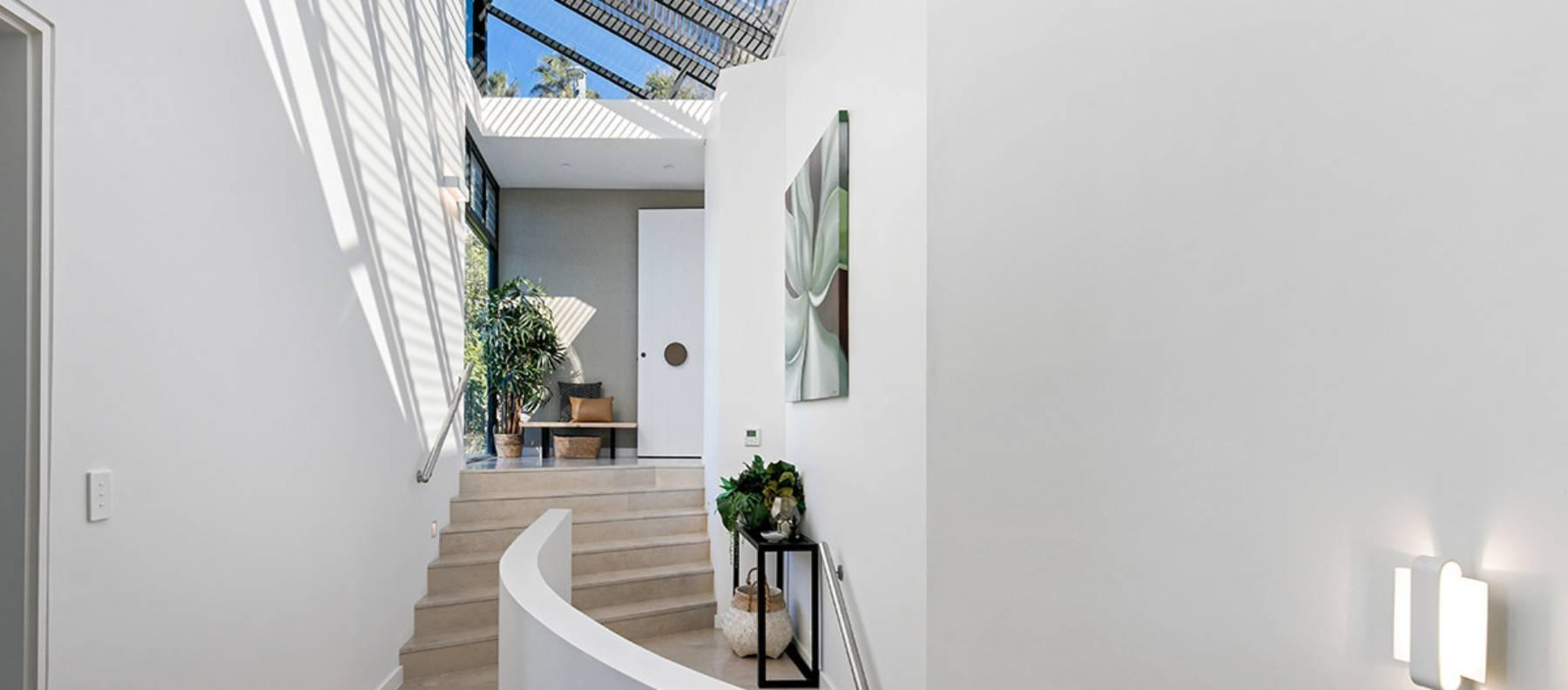 custom limestone hallway