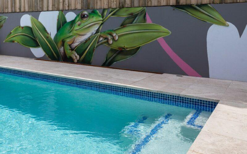 travertine pool mural