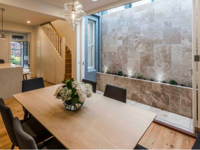 noce tumbled travertine feature wall